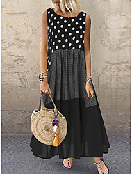 cheap -Women's Plus Size Maxi Dress - Sleeveless Polka Dot Patchwork Summer Casual Holiday Vacation Loose 2020 Black Red Yellow M L XL XXL XXXL XXXXL XXXXXL