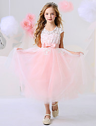 cheap -Ball Gown Ankle Length Event / Party / Birthday Flower Girl Dresses - Polyester Short Sleeve Jewel Neck with Bow(s) / Appliques