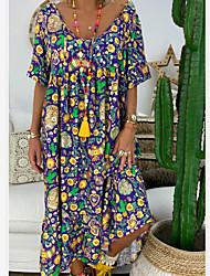 cheap -Women's Loose Maxi long Dress Purple Short Sleeve Geometric Print Summer U Neck Casual 2021 S M L XL XXL 3XL 4XL / Plus Size