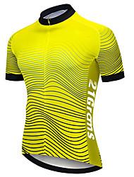 Недорогие -21Grams Муж. С короткими рукавами Велокофты Черный / желтый В полоску Велоспорт Джерси Верхняя часть Горные велосипеды Шоссейные велосипеды Устойчивость к УФ Дышащий Быстровысыхающий Виды спорта