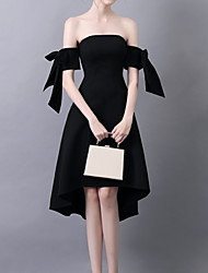 cheap -A-Line Elegant Little Black Dress Homecoming Cocktail Party Dress Off Shoulder Short Sleeve Knee Length Polyester with Bow(s) 2020