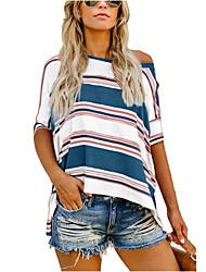 cheap -Women's Striped Print T-shirt Daily Black / Red / Light Blue