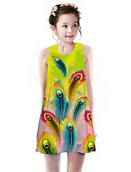 cheap -Kids Girls' Basic Cute Fantastic Beasts Geometric Rainbow Animal Print Sleeveless Knee-length Dress Green