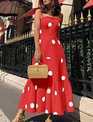 cheap -Women's Maxi Sheath Dress - Sleeveless Polka Dot Strap Slim White Black Blue Red S M L XL