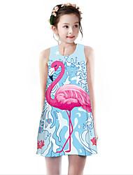 cheap -Kids Girls' Basic Cute Flamingos Geometric Animal Cartoon Print Sleeveless Knee-length Dress Light Blue