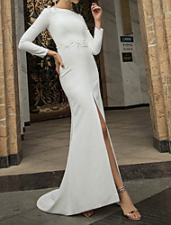 cheap -Mermaid / Trumpet Wedding Dresses Off Shoulder Short / Mini Polyester Long Sleeve Country Plus Size with Appliques Split Front 2020
