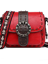 cheap -Women's Bags PU Leather Crossbody Bag Solid Color Daily Leather Bag MessengerBag Wine Black Red Green