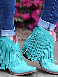 cheap -Women's Boots Cowboy Western Boots Block Heel Round Toe Vintage British Daily Tassel Solid Colored Faux Suede Booties / Ankle Boots Winter Yellow Blue Pink