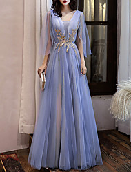cheap -A-Line Color Block Blue Prom Formal Evening Dress V Neck 3/4 Length Sleeve Floor Length Tulle with Appliques 2021
