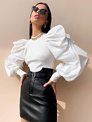 cheap -Women's Solid Colored Layered Pleated Patchwork Blouse Daily White / Black