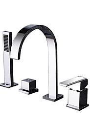 cheap -Bathtub Faucet - Contemporary Chrome or Black Deck Mounted 4 PCS Roman Tub Ceramic Valve Bath Shower Mixer Taps