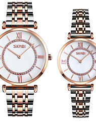 cheap -SKMEI Steel Band Watches Classic Fashion Silver Rose Gold Stainless Steel Chinese Quartz White+Silver Black+Gold Water Resistant / Waterproof Casual Watch Cool 30 m 2 Piece Analog One Year Battery