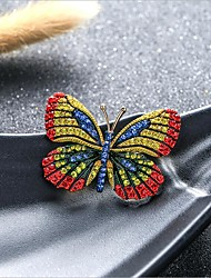 cheap -Women's Cubic Zirconia Brooches Classic Butterfly Stylish Simple Classic Brooch Jewelry Yellow Light Green For Party Gift Daily Work Festival