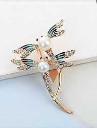 cheap -Women's Cubic Zirconia Brooches Classic Dragonfly Stylish Simple Classic Brooch Jewelry Gold Silver For Party Gift Daily Work Festival