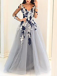 cheap -Ball Gown Floral Blue Engagement Prom Dress V Neck Long Sleeve Floor Length Polyester with Appliques 2020 / Illusion Sleeve