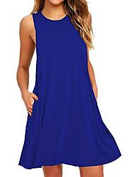cheap -Women's Shift Dress Short Mini Dress Black Purple Red Wine Green Royal Blue Sleeveless Solid Color Round Neck Hot Cotton S M L XL XXL 3XL