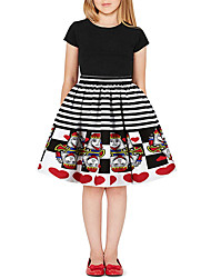 cheap -Kids Girls' Active Basic Print Color Block Patchwork Print Skirt Black