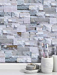 cheap -20x10cmx9pcs Light Gray Stone Brick Wall Stickers Retro Oil-proof Waterproof Tile Wallpaper For Kitchen Bathroom Ground Wall House Decoration