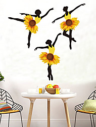 cheap -Sunflower Girl Wall Stickers DIY Ballet Dancer Mural Dormitory Decals for House Kids Rooms Baby Bedroom Nursery Decoration