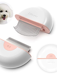 cheap -Dog Cat Brushes Cleaning Hair Removal Product Shedding Tools Plastic Silica Gel Stainless steel Grooming Kits Comb Brush Double-Sided Massage Ergonomic Design Folding Cute Pet Grooming Supplies Pink