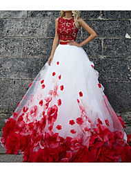 cheap -Ball Gown Wedding Dresses Jewel Neck Sweep / Brush Train Polyester Sleeveless Country Plus Size Red with Lace Insert Appliques 2021