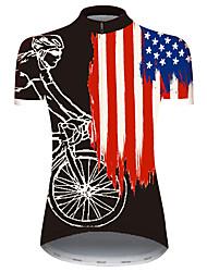 Недорогие -21Grams Жен. С короткими рукавами Велокофты Черный / красный Американский / США Флаги Велоспорт Джерси Верхняя часть Горные велосипеды Шоссейные велосипеды Устойчивость к УФ Дышащий Быстровысыхающий