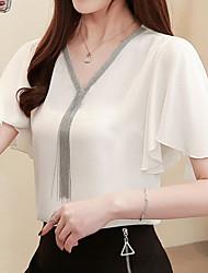 cheap -Women's Color Block Patchwork Blouse Daily V Neck White / Black / Green