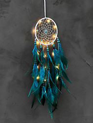 cheap -Led Boho Dream Catcher Handmade Gift Wall Hanging Decor Art Ornament Craft Feather Bead 50*11cm for Kids Bedroom Wedding Festival