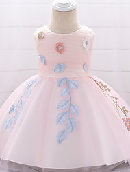 cheap -Ball Gown Floor Length Party / Birthday Flower Girl Dresses - Lace / Tulle Sleeveless Jewel Neck with Embroidery