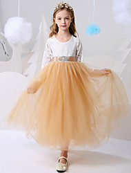 cheap -Ball Gown Floor Length Party / Birthday Flower Girl Dresses - Polyester Long Sleeve Jewel Neck with Color Block