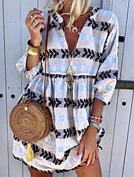cheap -Women's Shift Dress Short Mini Dress - 3/4 Length Sleeve Print Summer V Neck Hot Boho 2020 White Yellow Green Light Blue S M L XL XXL 3XL