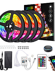 cheap -LED Strip Lights Dimmable App Control Waterproof 20M(4x5M) RGB Tiktok Lights Intelligent Dimming Flexible 5050 SMD 600 LEDs IR 24 Key Controller with Installation Package 12V 8A Adapter Kit
