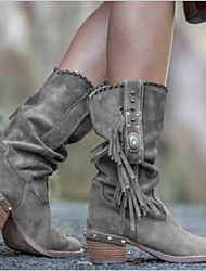 cheap -Women's Boots Chunky Heel Round Toe Suede Mid-Calf Boots Winter Yellow / Khaki / Brown