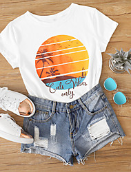 cheap -Women's Daily T-shirt Scenery Print Short Sleeve Tops Cotton White