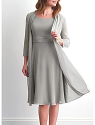 cheap -Two Piece A-Line Mother of the Bride Dress Elegant Jewel Neck Knee Length Chiffon Satin 3/4 Length Sleeve with Pleats 2020