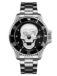 cheap -Men's Steel Band Watches Quartz Stylish Skull Water Resistant / Waterproof Analog Black Blue Red / One Year / Stainless Steel / Noctilucent