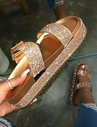 cheap -Women's Slippers & Flip-Flops Outdoor Slippers Flat Heel Open Toe Daily PU Summer Gold Silver