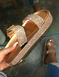 cheap -Women's Slippers & Flip-Flops Outdoor Slippers Flat Heel Open Toe Daily PU Gold Silver