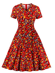 cheap -Women's A Line Dress - Short Sleeves Print V Neck Red S M L XL XXL