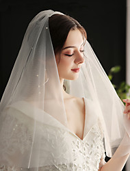 cheap -Two-tier European Style Wedding Veil Elbow Veils with Faux Pearl / Solid Tulle