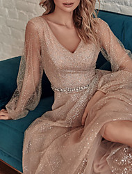 cheap -A-Line Glittering Maxi Party Wear Prom Dress V Neck Long Sleeve Floor Length Tulle Sequined with Sash / Ribbon Sequin 2020