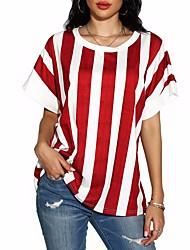 cheap -Women's Striped Print T-shirt Daily Black / Blue / Purple / Red