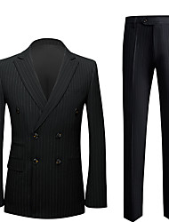 cheap -Tuxedos Slim Fit Peak Double Breasted Six-buttons Polyester Stripes / British / Fashion