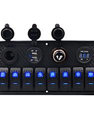 Недорогие -5v автомобильное зарядное устройство / 5-контактный двойной свет 8-разрядный переключатель прикуривателя сиденья двойной usb вольтметр комбинированная панель прикуривателя / ip65 / черный / материал