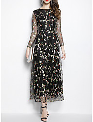 cheap -Sheath / Column Floral Black Wedding Guest Prom Dress Jewel Neck Long Sleeve Ankle Length Polyester with Embroidery 2020