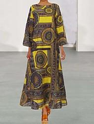cheap -Women's Green Brown Dress Loose Print S M