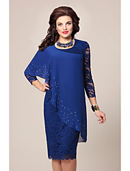 cheap -Women's Plus Size Green Blue Dress For Mother / Mom Spring Going out Bodycon Solid Color Lace Chiffon Wrap S M