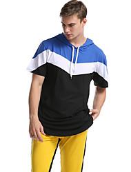 cheap -Men's Color Block T-shirt Daily Sports Hooded Black / Blue / Red / Light Green / Short Sleeve