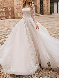 cheap -Ball Gown A-Line Wedding Dresses High Neck Court Train Lace Organza Long Sleeve Country Plus Size with Lace Buttons Embroidery 2020