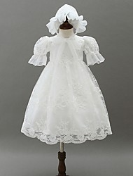 cheap -A-Line Floor Length First Communion Christening Gowns - Polyester Half Sleeve Jewel Neck with Lace / Bow(s)